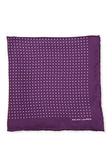 RALPH LAUREN BLACK LABEL Silk foulard polka-dot pocket square
