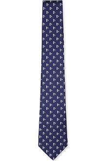 RALPH LAUREN BLACK LABEL Triangle-print silk tie