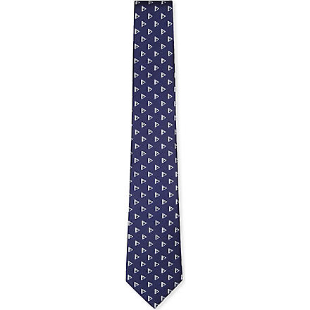 RALPH LAUREN BLACK LABEL Triangle-print silk tie (Navy