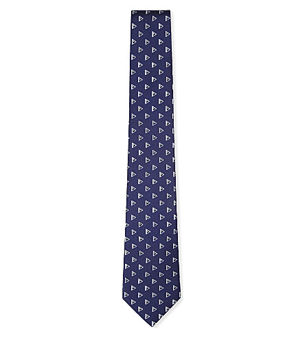 RALPH LAUREN BLACK LABEL Triangle-print silk tie (Navy