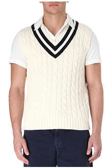 RALPH LAUREN Cable-knit cotton and cashmere-blend vest