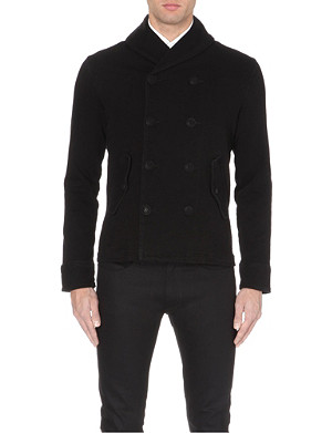 RALPH LAUREN BLACK LABEL Shawl-collar double-breasted cotton cardigan