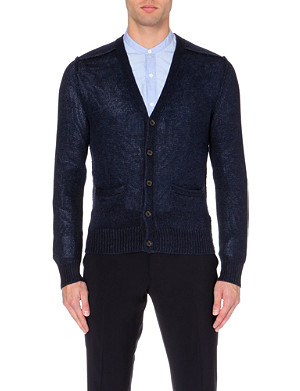 RALPH LAUREN BLACK LABEL Seam-detail knitted linen cardigan