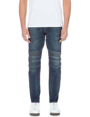 RALPH LAUREN BLACK LABEL Piston moto slim-fit tapered jeans