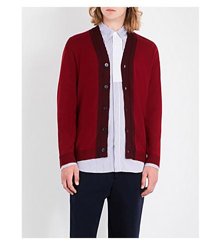 MARNI Contrast-trim wool cardigan (309f+red+burgundy+combo