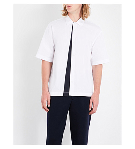 MARNI Contrast-panel regular-fit cotton shirt (0100+white