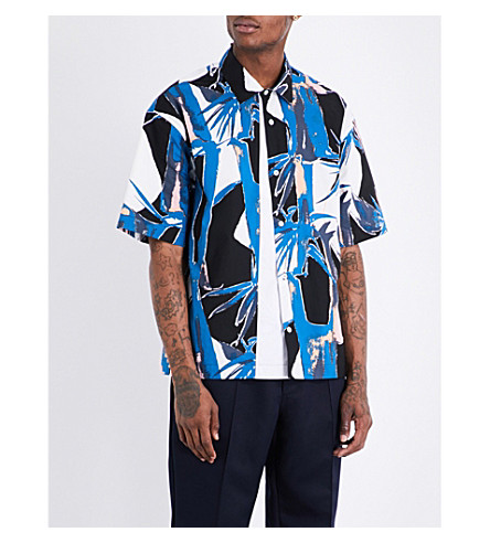 MARNI Jungle-print regular-fit cotton shirt (001s+t+white