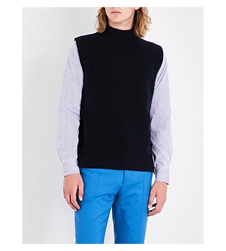 MARNI Turtleneck sleeveless wool and cashmere-blend jumper (0524+blue+navy