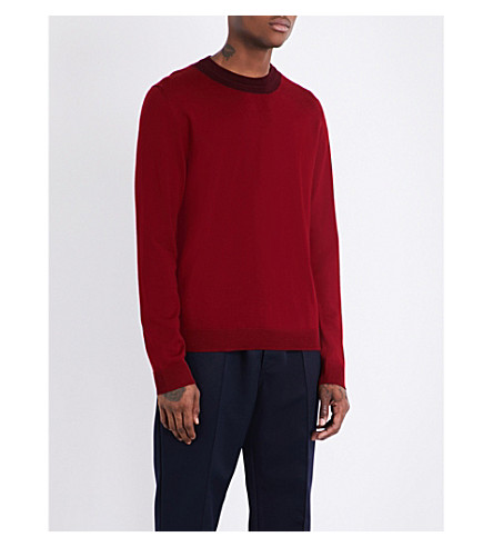 MARNI Contrast-collar wool jumper (309f+red+burgundy+combo