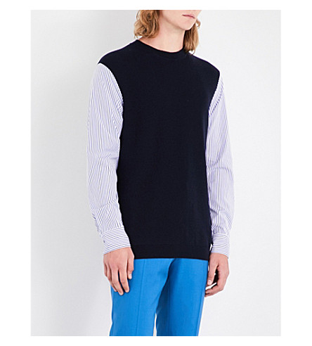 MARNI Contrast-sleeve wool and cotton jumper (001f+navy+striped+combo