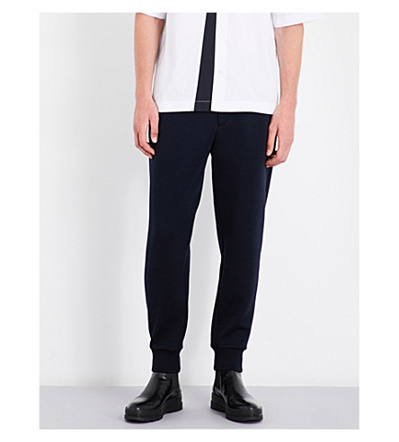MARNI Contrast-panel wool-blend jogging bottoms (0524+blue+navy