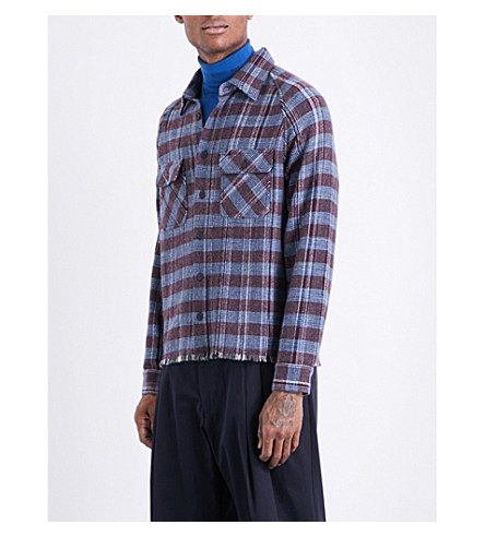 MISSONI Frayed-hem checked regular-fit cashmere shirt (Bordux/blue