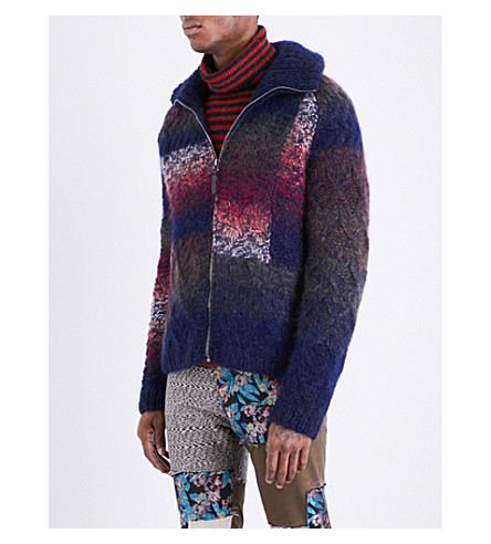 MISSONI Funnel-neck wool, mohair and alpaca jumper (Blues