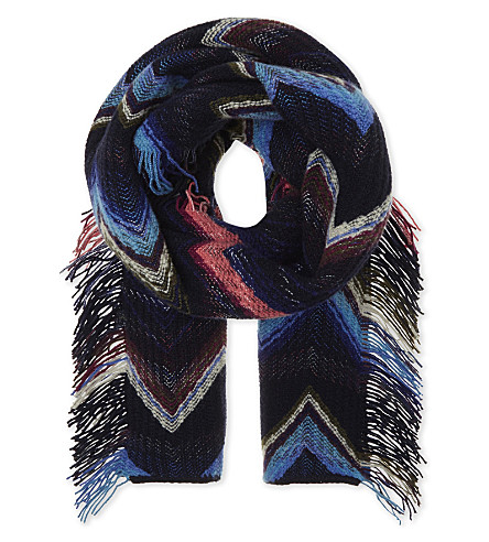 MISSONI Zigzag patterned wool scarf (Navy/sky