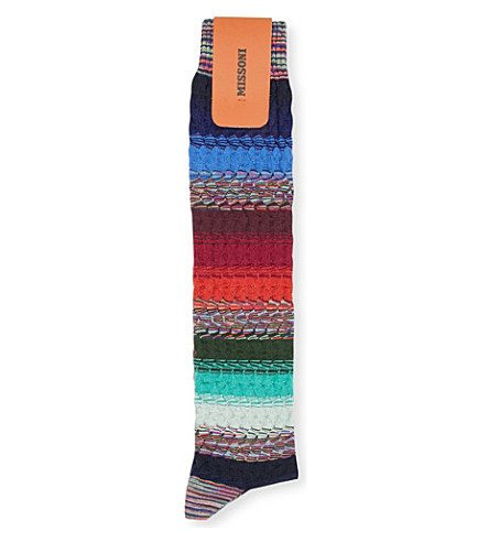 MISSONI Striped knitted socks (Blues/reds