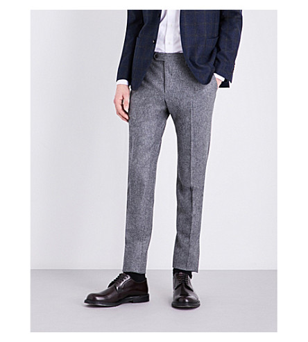 LARDINI Regular-fit tapered wool trousers (Light+grey