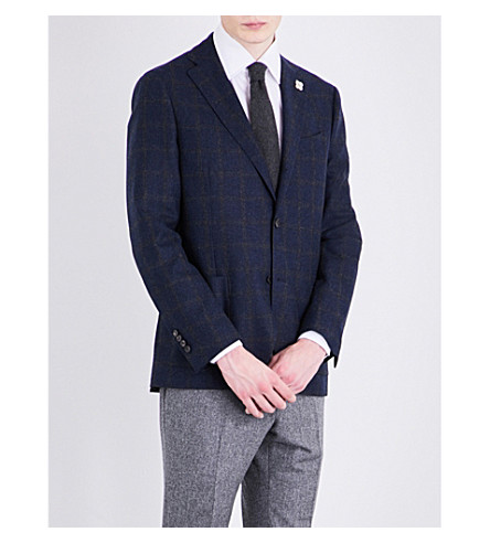 LARDINI Windowpane check slim-fit wool jacket (Navy
