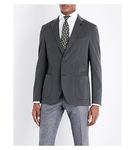 LARDINI Tailored-fit stretch-cotton jacket (Khaki