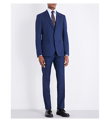 LARDINI Tonic tailored-fit wool wedding suit (Bright+blue