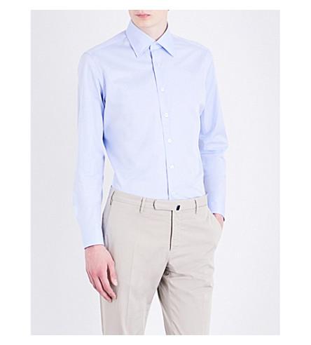 LARDINI Regular-fit cotton-poplin shirt (Sky