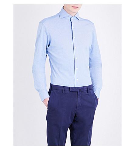 LARDINI Slim-fit brushed cotton shirt (Sky