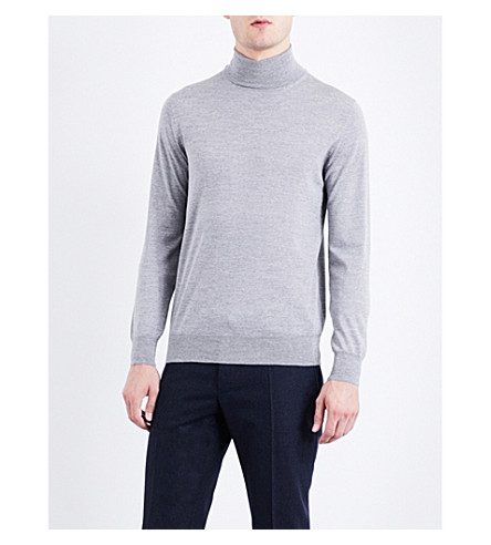 LARDINI Turtleneck merino-wool sweater (Light+grey