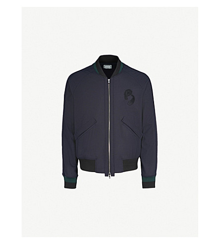 WOOYOUNGMI Checked wool-blend bomber jacket (Black