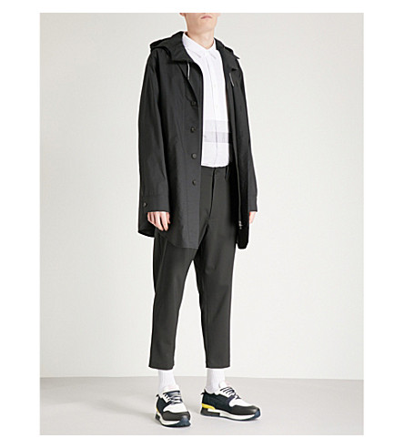 WOOYOUNGMI Layered cotton-blend mac (Black