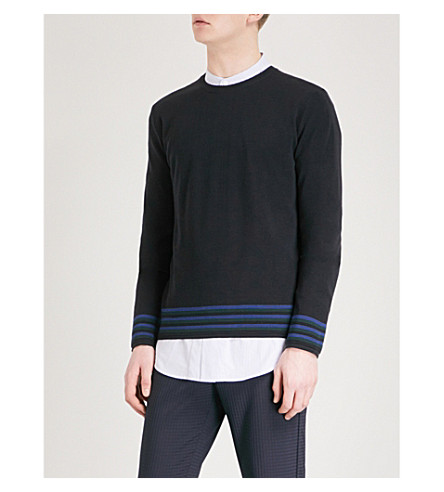 WOOYOUNGMI Striped knitted wool jumper (Navy
