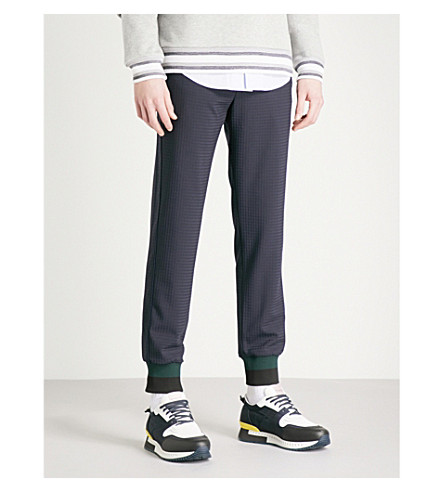 WOOYOUNGMI Checked slim-fit skinny woven trousers (Black
