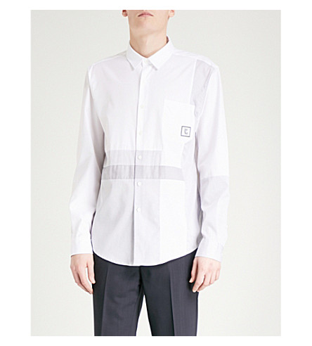 WOOYOUNGMI Contrast-panel regular-fit cotton-poplin shirt (White/grey