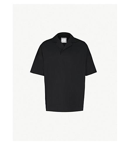 WOOYOUNGMI Open collar crepe polo shirt (Black