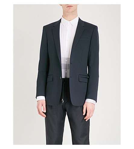 WOOYOUNGMI Slim-fit single-breasted wool jacket (Black