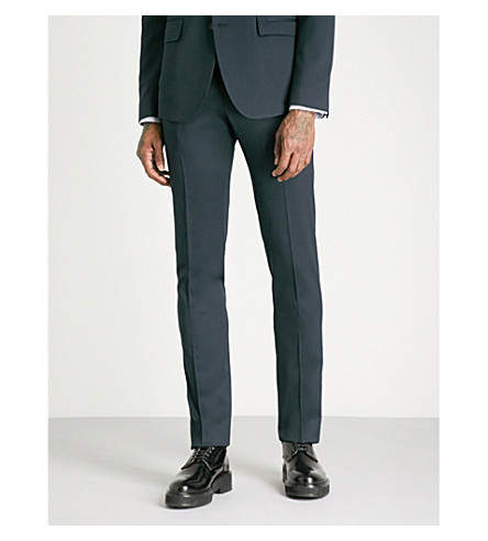 WOOYOUNGMI Tailored-fit tapered wool-blend trousers (Black