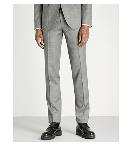 WOOYOUNGMI Tailored-fit tapered wool-blend trousers (Grey