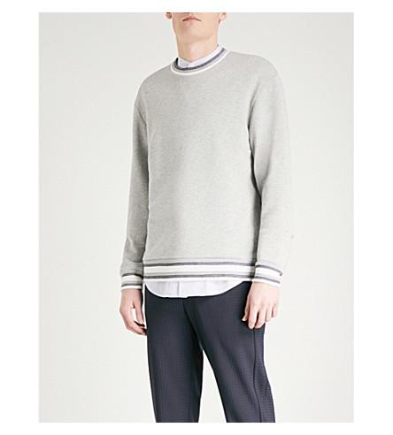 WOOYOUNGMI Striped-trim cotton-jersey sweatshirt (Grey