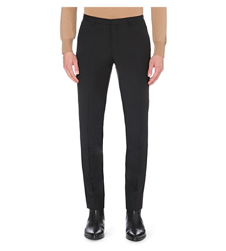 J LINDEBERG Slim-fit tapered wool trousers (Black