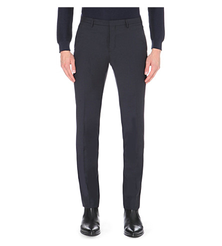 J LINDEBERG Slim-fit tapered wool trousers (Dk+blue