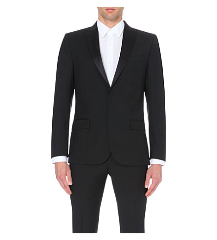 J LINDEBERG Satin-trim wool tuxedo jacket (Black