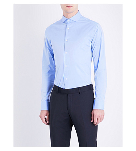 TIGER OF SWEDEN Farrell slim-fit stretch-cotton shirt (Sky