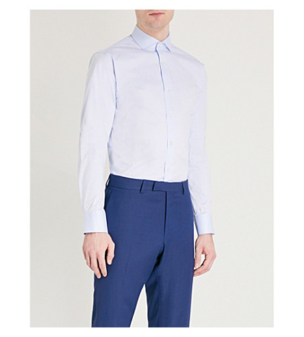 TIGER OF SWEDEN Farrell slim-fit cotton-blend shirt (Pale+blue