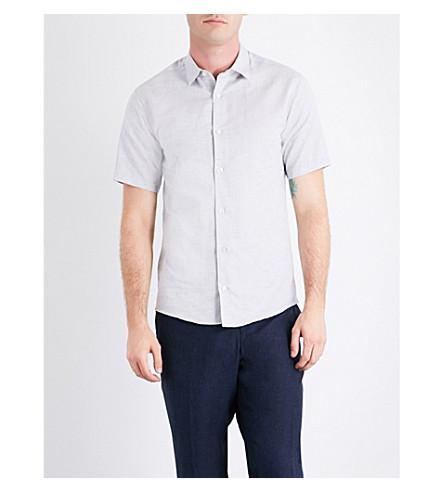 TIGER OF SWEDEN Joar slim-fit cotton and linen-blend shirt (Dark+white