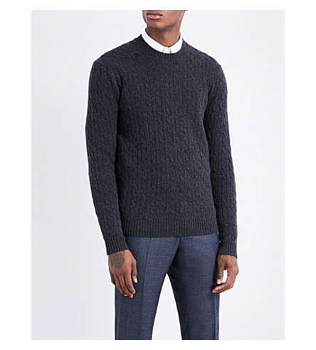 TIGER OF SWEDEN Cable-knit wool jumper (Charcoal