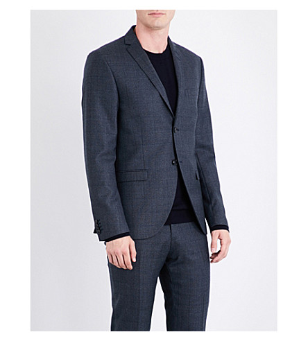 TIGER OF SWEDEN Prince of Wales checked slim-fit wool-blend jacket (Blue