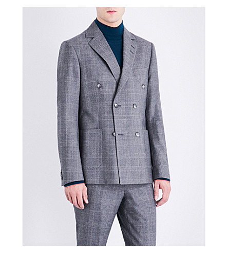 TIGER OF SWEDEN Checked slim-fit wool jacket (Grey