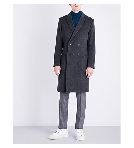 TIGER OF SWEDEN Double-breasted wool-blend coat (Charcoal