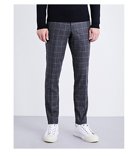 TIGER OF SWEDEN Slim-fit window pane check wool-blend trousers (Grey
