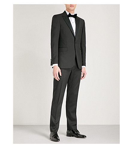 TIGER OF SWEDEN Bellar regular-fit wool and mohair-blend tuxedo jacket (Black