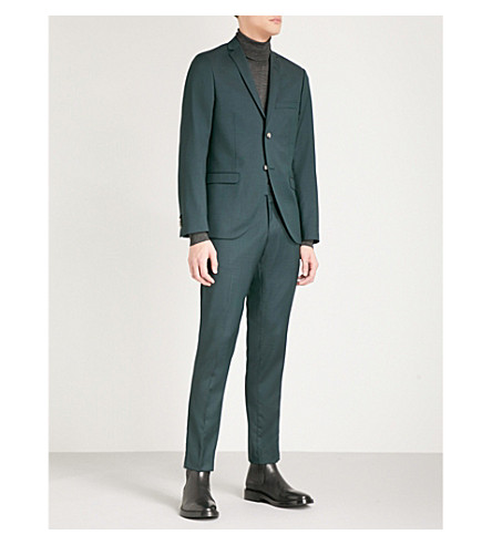 TIGER OF SWEDEN Pindot-patterned regular-fit wool suit (Green