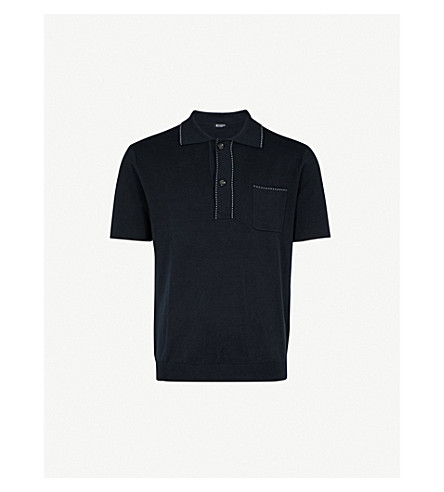 TIGER OF SWEDEN Howman cotton and silk-blend polo shirt (Navy